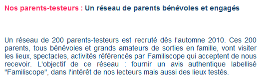 parents testeurs