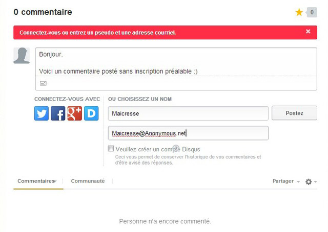 Commentaire Disqus anonyme