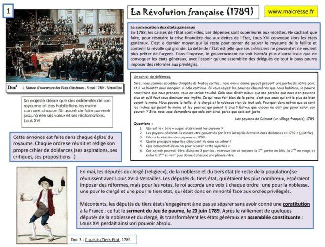 de la Révolution Française à la fin de la Monarchie Constitutionnelle