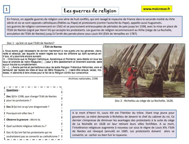 les guerres de religion et Louis XIV